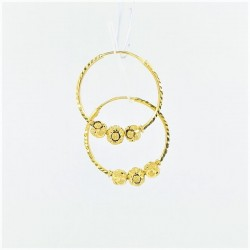 Three Hex-Bead Cut Hoop Earrings