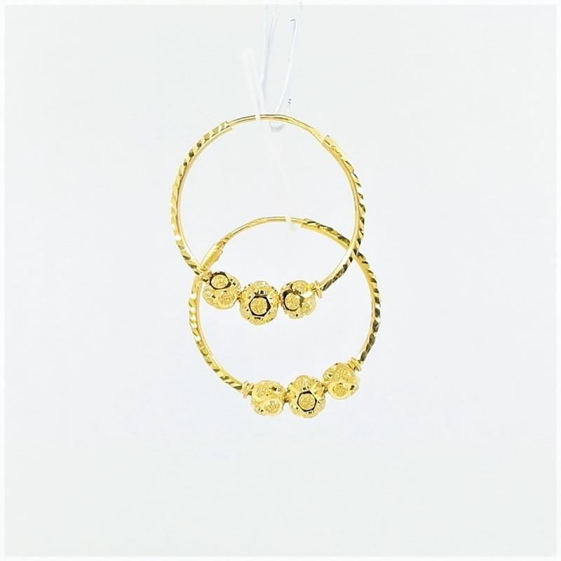 Three Hex-Bead Cut Hoop Earrings - 1