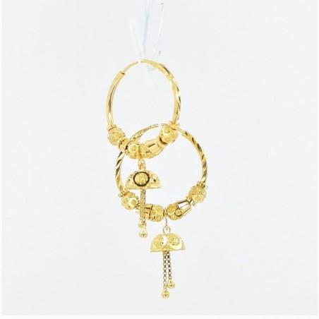 Plain Gold Drop Hoop Earrings - 1