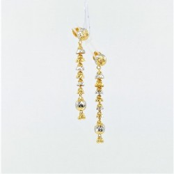 Long Two-Tone Drop Earrings