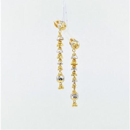 Long Two-Tone Drop Earrings - 1