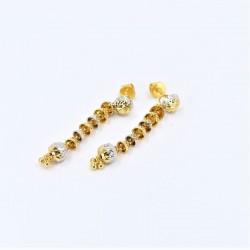 Long Two-Tone Drop Earrings - 2