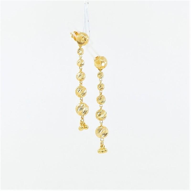 Tiered Gold Bead Drop Earrings - 1