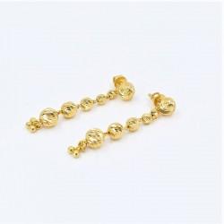Tiered Gold Bead Drop Earrings - 2