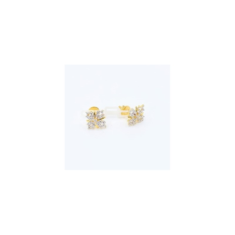 Square Butterfly Style Stud Earrings - 1