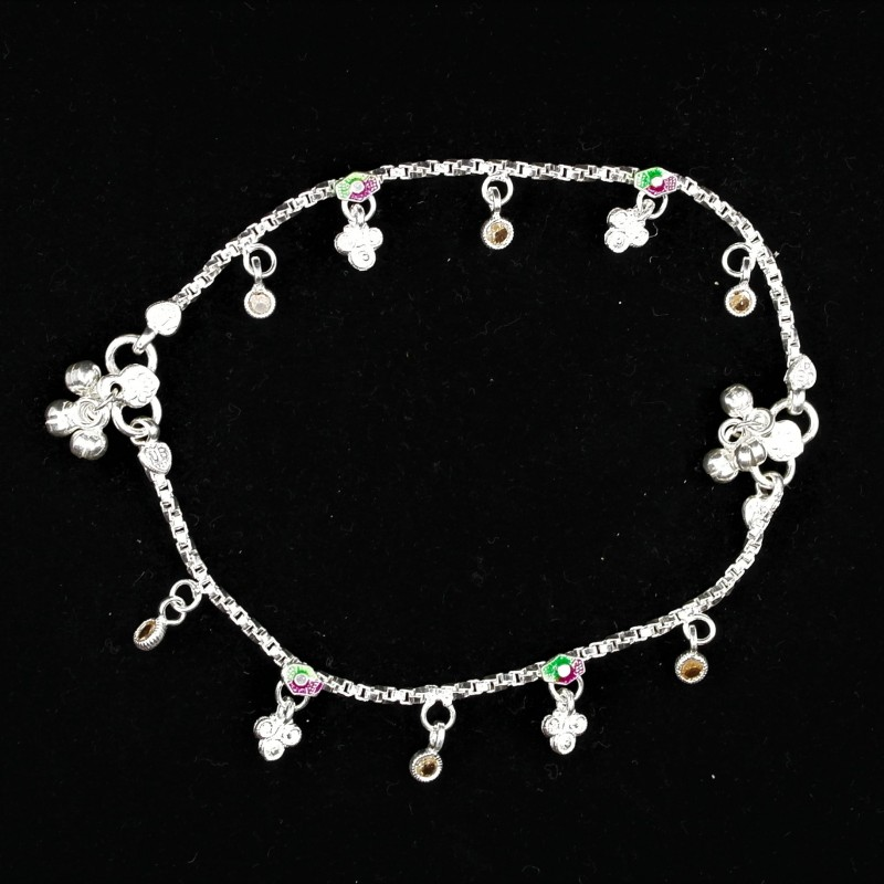 Baby Anklets with Small Stone Set Colour Charms - 1