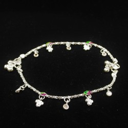 Baby Anklets with Small Stone Set Colour Charms - 2