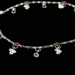 Baby Anklets with Small Stone Set Colour Charms - 3