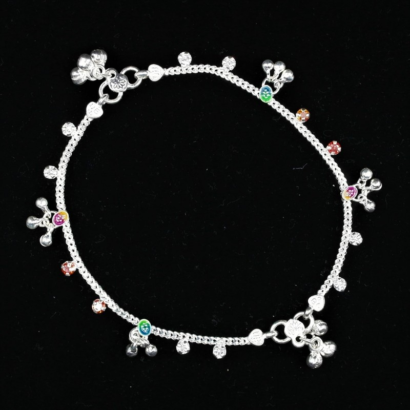 Baby Anklets with Stone Set Colour Charms - 1