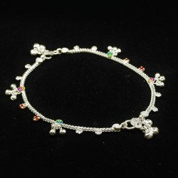Baby Anklets with Stone Set Colour Charms - 2