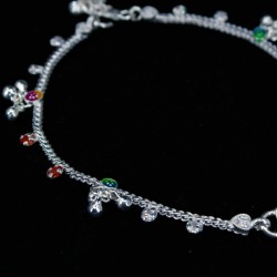 Baby Anklets with Stone Set Colour Charms - 3