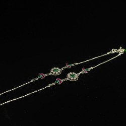 Ladies Anklets Round Green Pendant - 1