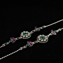 Ladies Anklets Round Green Pendant - 2