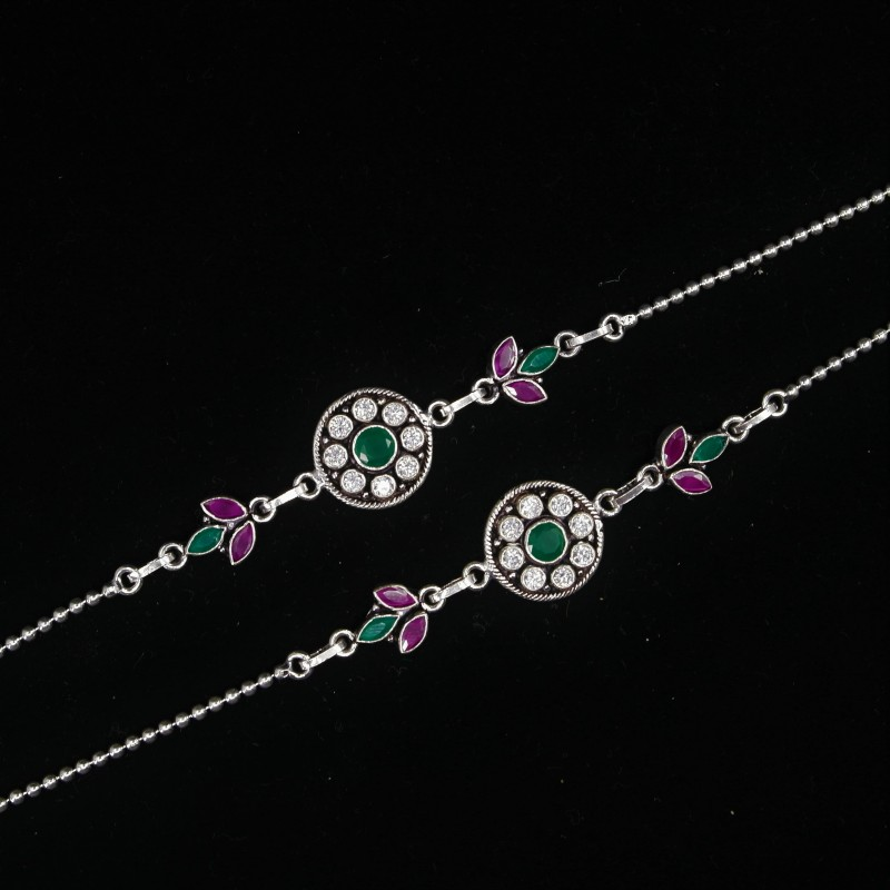 Ladies Anklets Round Green Pendant - 3