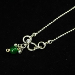 Ladies Anklets Round Green Pendant - 4