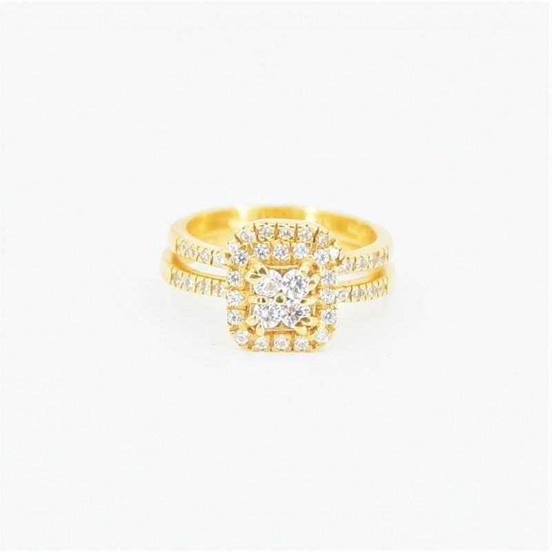 22ct Bridal Ring Set - DMS-R69 - 2