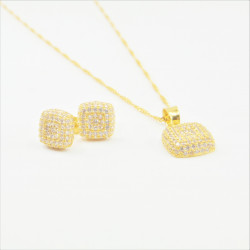 Cushion Shaped C/Z Pendant Set - 2