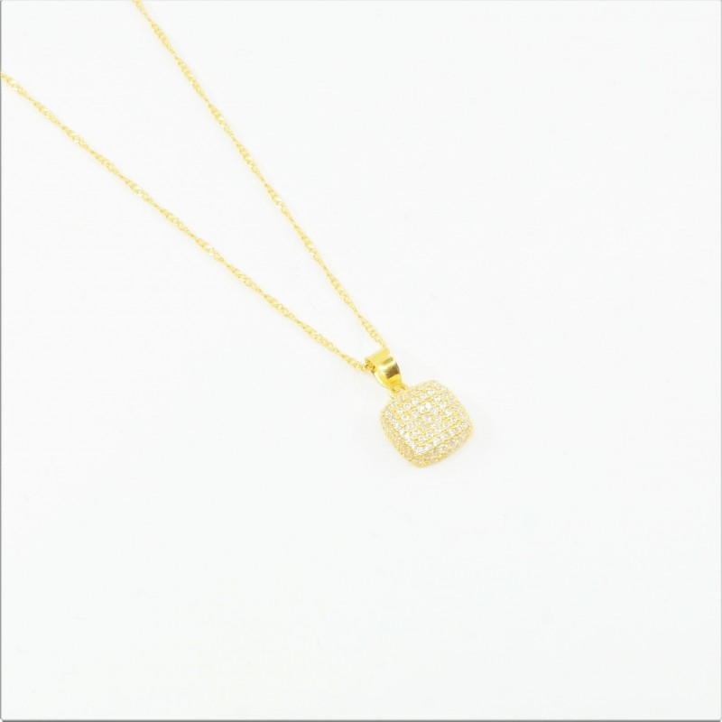Cushion Shaped Cluster Pendant on a Ripple Chain - DMS-1-CP29 - 1