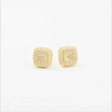 Cushion Shaped Cluster Stud Earrings - DMS-1-E21 - 1