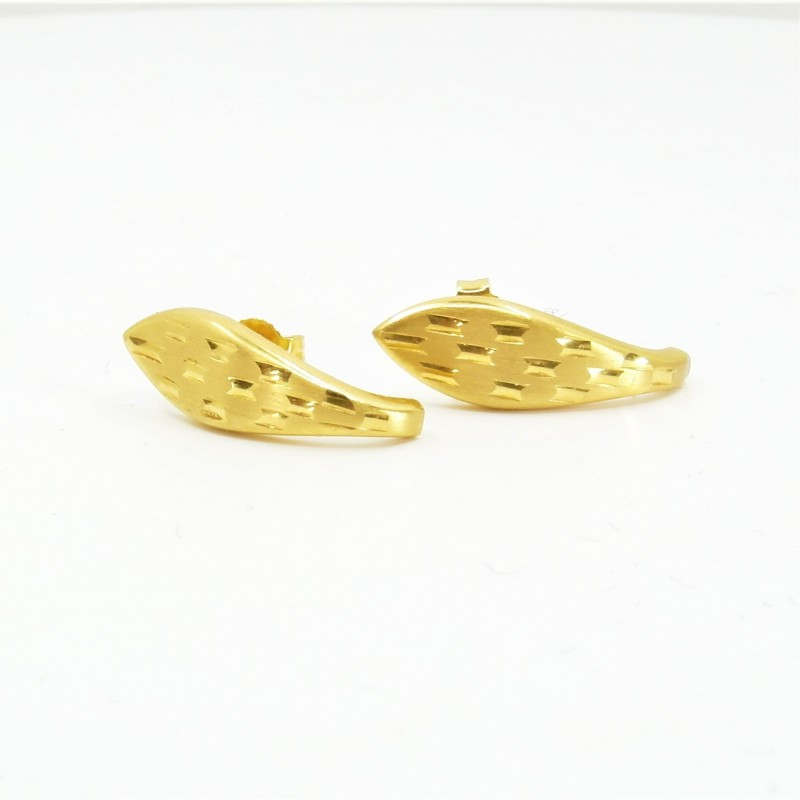 Laser etched J Shaped Stud Earrings - DMS-2-E19 - 1