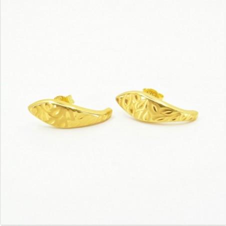Laser etched J Shaped Stud Earrings - DMS-3-E19 - 1
