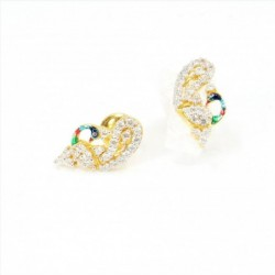 "C/Z Peacock ""mor"" Design Stud Earrings - DMS-5-E38 - 1"