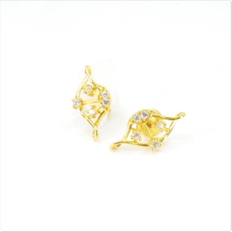 Fancy Twist C/Z Stud Earrings - DMS-6-E32 - 1