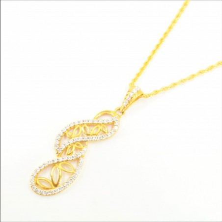 Long Fancy C/Z Pendant on Rope Chain - DMS-7-CP79 - 1