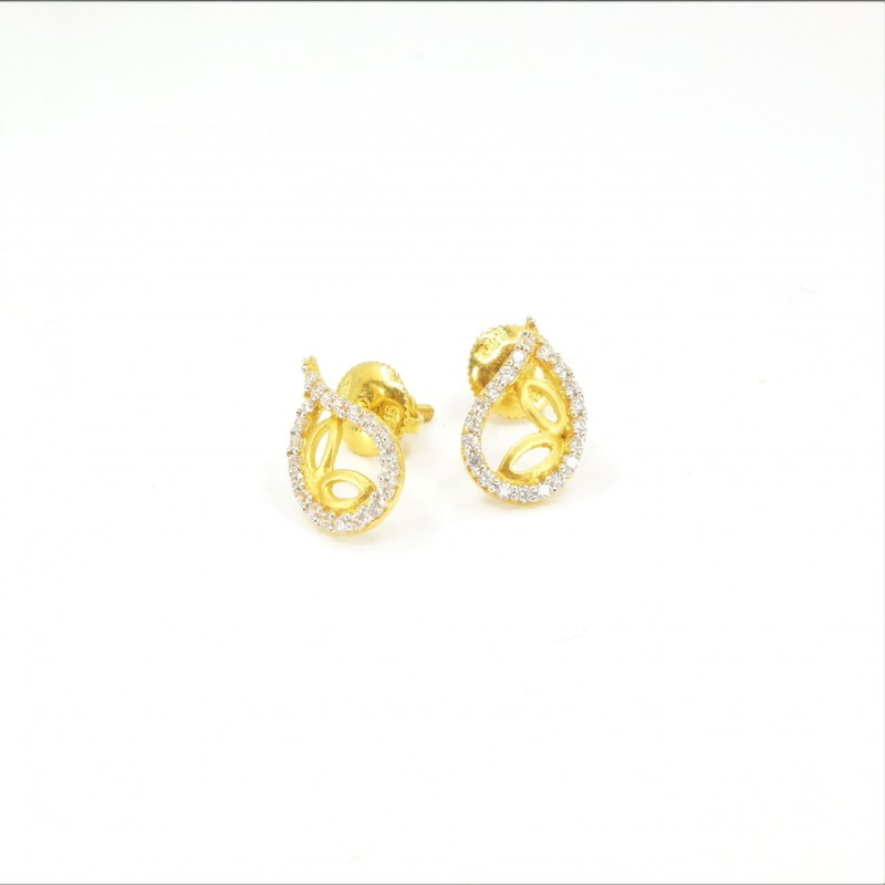 Fancy Petal Shaped C/Z Stud Earrings - DMS-7-E28 - 1
