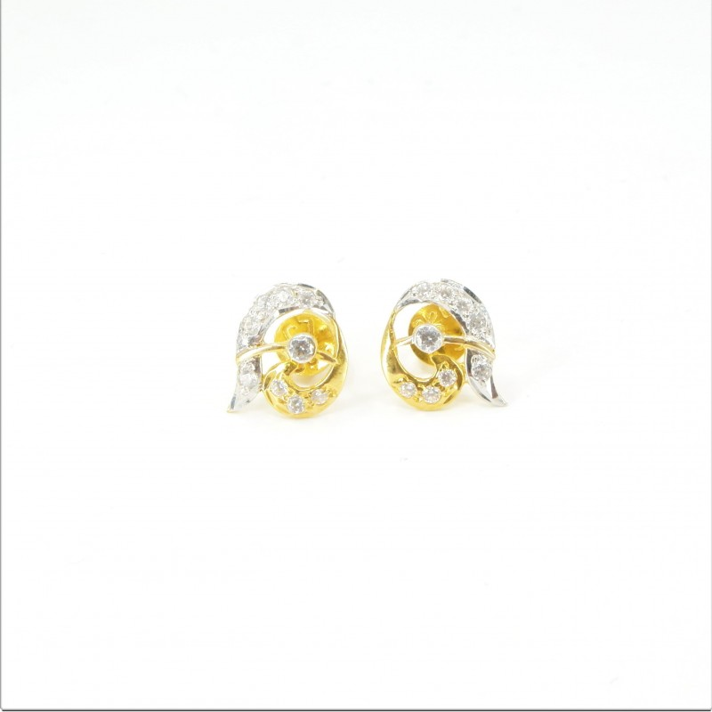 Unique C/Z Stud Earrings - DMS-8-E19 - 1