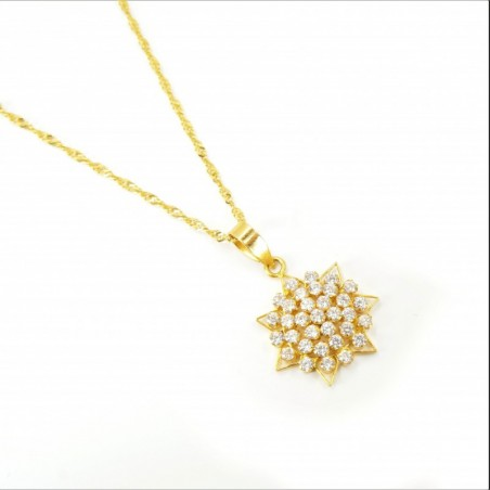 7 Pointed Star C/Z Cluster Pendant on a Ripple Chain - DMS-10-CP47 - 1