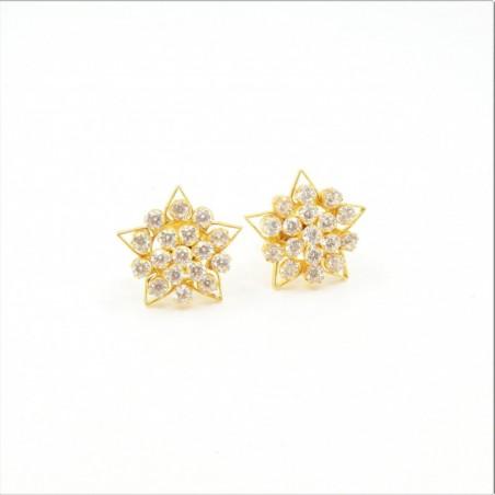7 pointed Star C/Z Cluster Stud Earrings - DMS-10-E29 - 1