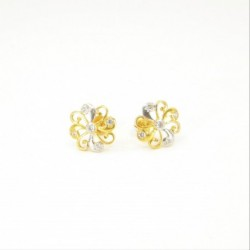 Two-Tone Swirl Stud Earrings - DMS-12-E24 - 1