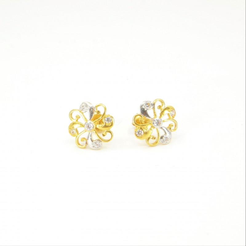 Two-Tone Swirl Stud Earrings - DMS-12-E24 - 1