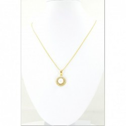 Freshwater Pearl and C/Z Halo Pendant on a Spiga Chain - DMS-13-CP91 - 2