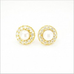 Freshwater Pearl and C/Z Halo Stud Earrings - DMS-13-E64 - 1