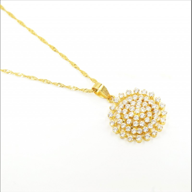 Spiral C/Z Cluster Pendant on a Ripple Chain - DMS-14-CP58 - 1