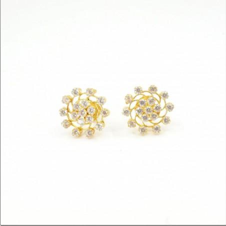Spiral C/Z Cluster Stud Earrings - DMS-14-E30 - 1