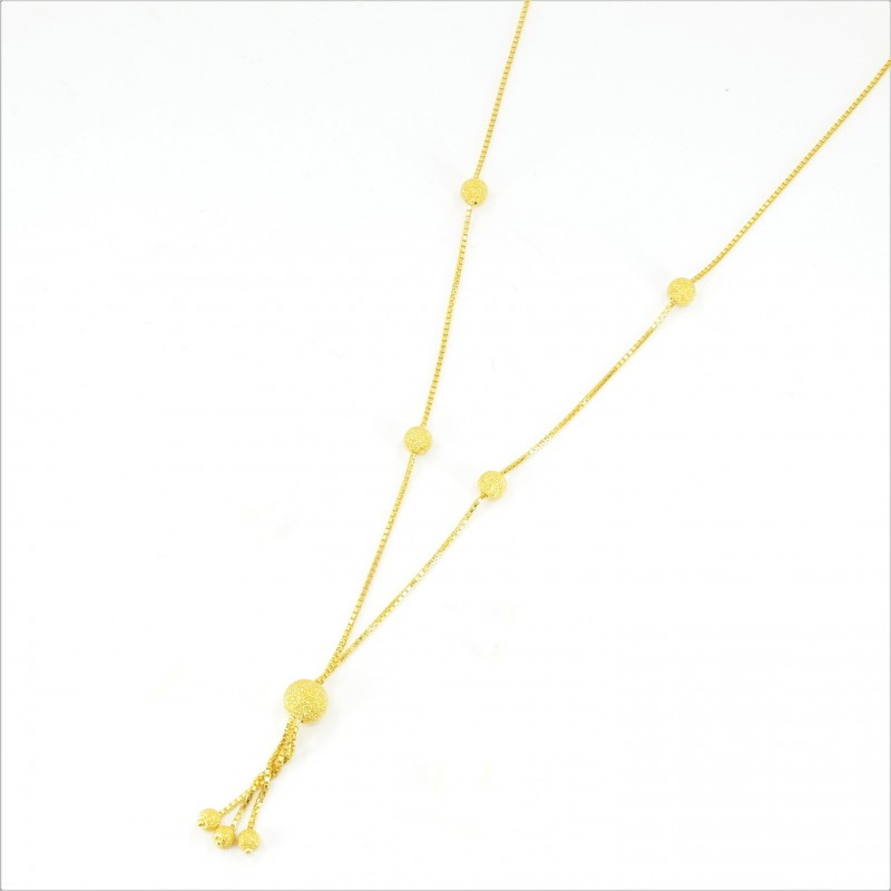 Frosted Gold Bead Necklet - DMS-15-CP60 - 1