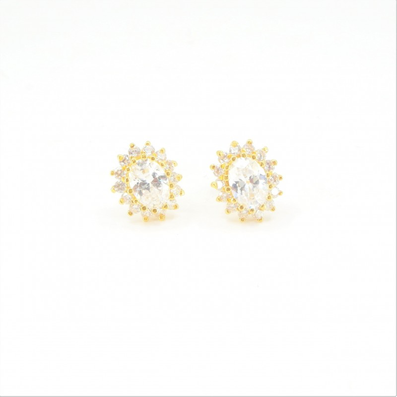 Oval C/Z Halo Stud Earrings - DMS-17-E34 - 1