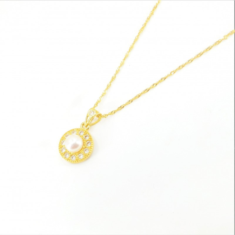Freshwater Pearl and Millgrain C/Z Halo Pendant on a Ripple Chain - DMS-18-CP39 - 1