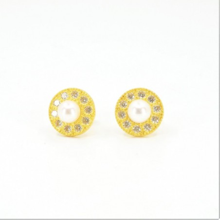 Freshwater Pearl and Millgrain C/Z Halo Stud Earrings - DMS-18-E41 - 1