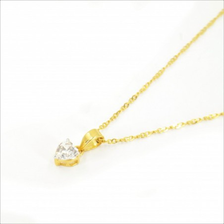 Solitaire C/Z Heart Pendant on a Ripple Chain - DMS-19-CP24 - 1