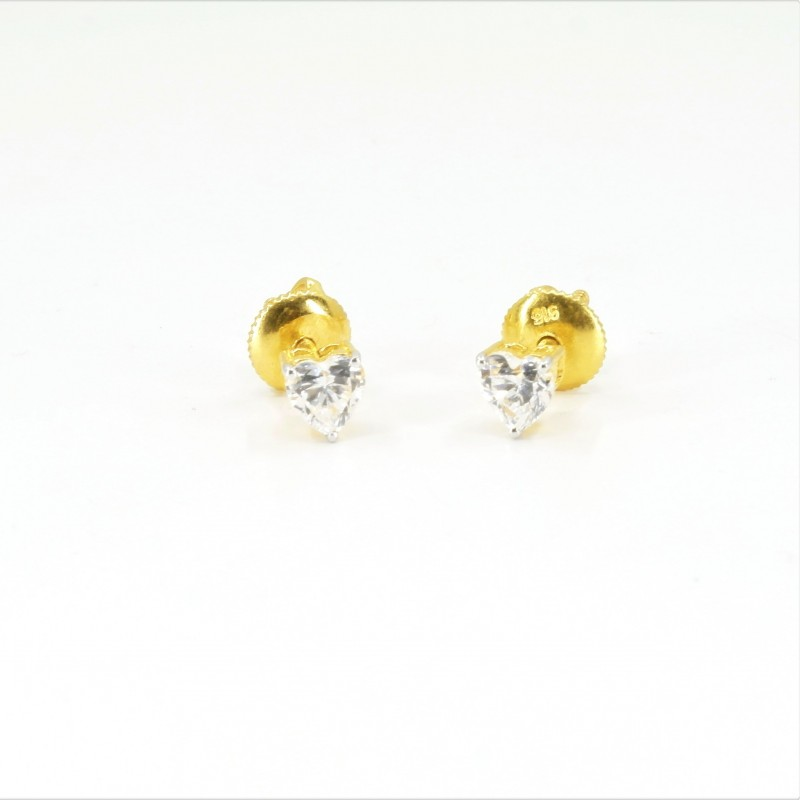 Solitaire C/Z Heart Stud Earrings - DMS-19-E23 - 1