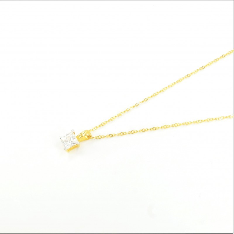 Solitaire C/Z Princess Pendant on Ripple Chain - DMS-20-CP26 - 1