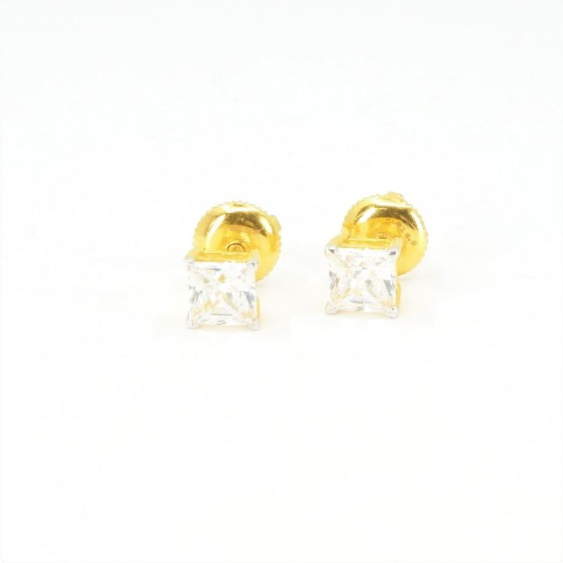 Solitaire C/Z Princess Stud Earrings - DMS-20-E26 - 1