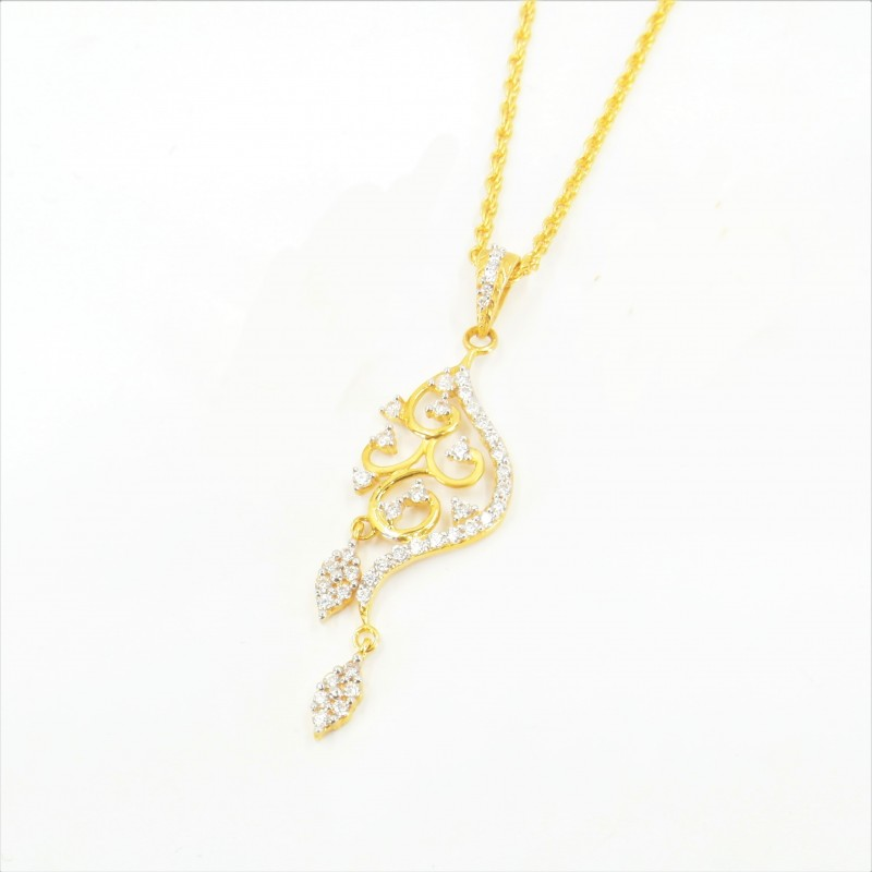 Fancy C/Z Pendant on a Rope Chain - DMS-4-CP60 - 1
