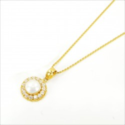 Freshwater Pearl and C/Z Halo Pendant Set - 3
