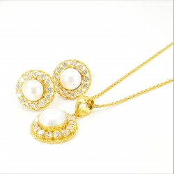 Freshwater Pearl and C/Z Halo Pendant Set - 2