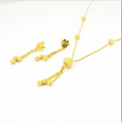 Frosted Gold Bead Necklet Set - 1